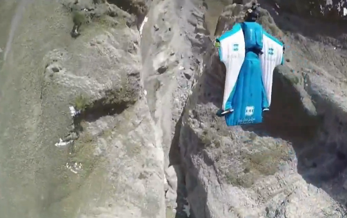 Two Base Jumping Wing Suit Pilots Nearly Crash