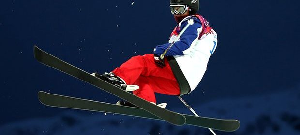 Anaïs Caradeux competing at the 2014 Winter Olympics in Sochi.