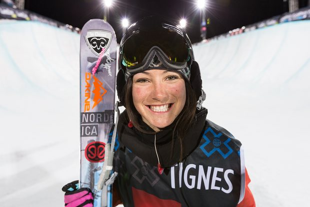 Anais Caradeux celebrates her second-place finish in the X Games in 2013