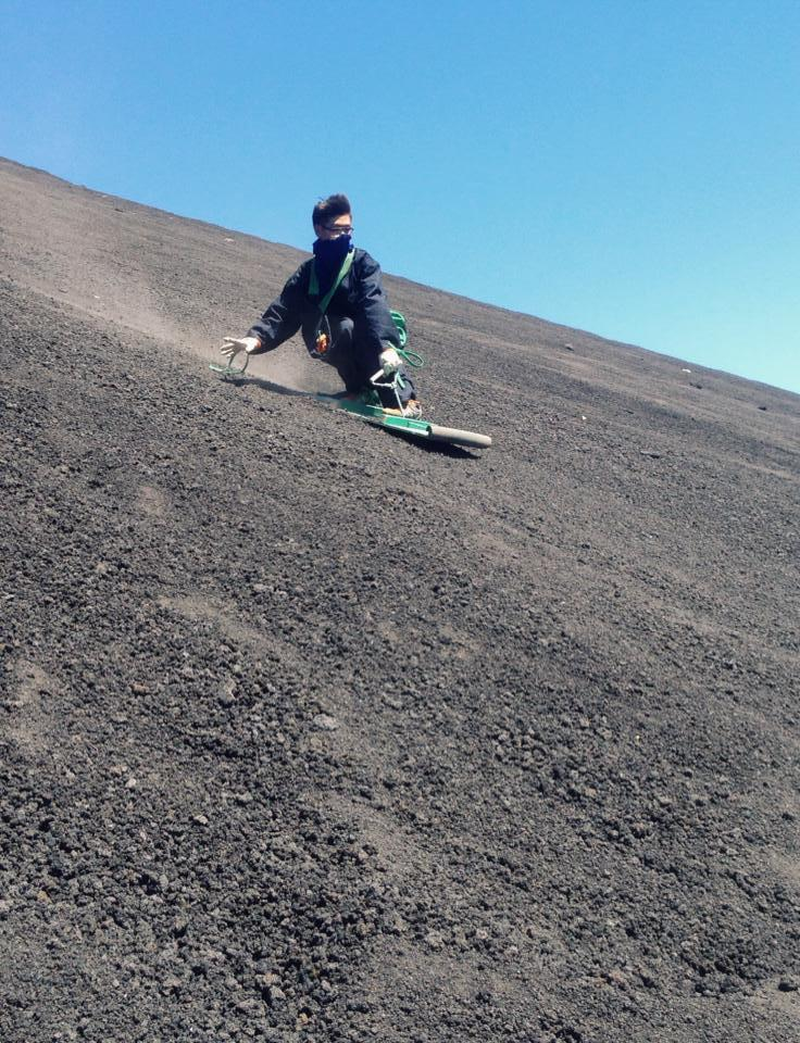 RODE BICYCLE DOWN STEEP OF AN ACTIVE VOLCANO IN NICARAGUA